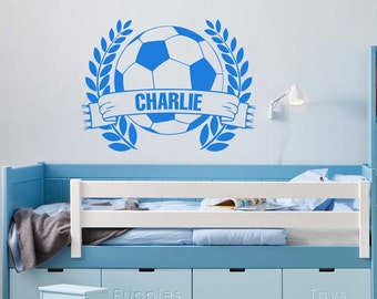 Personalised Name Football Wall Stickers, Boys Girls Bedroom Playroom Wall Art Decal