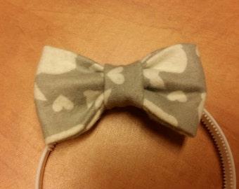 Baby headband with bow, grey, bunny, hearts, white