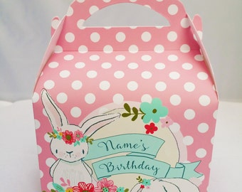 Bunny Rabbit Girl's Personalised Children's Party Box Gift Bag Favour