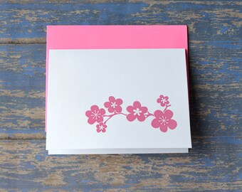 4 Pack:  Cherry Blossom Spring Note Cards Greeting Cards
