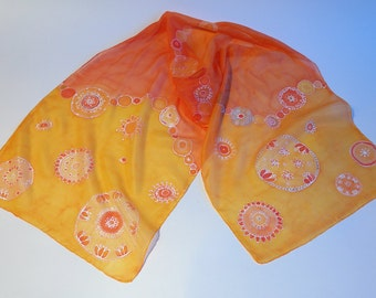 Handpainted mandala silk scarf in orange