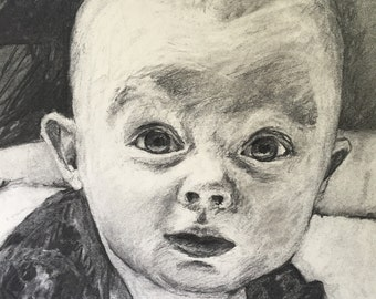 11x14 Charcoal Drawing of Child
