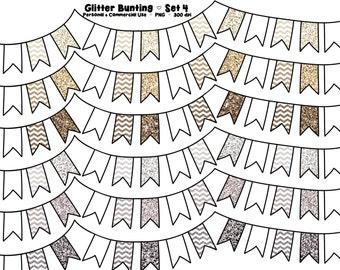 Digital Bunting Clipart - Commercial Use - Clip Art - Graphics - Neutral Glitter Flags - Beige Glitter Chevron - Set 4