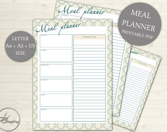 Meal Planner Printable, Weekly Menu Plan, Printable Meal Schedule, Shopping list, Desk Planner, A4, A5 Letter, INSTANT DOWNLOAD
