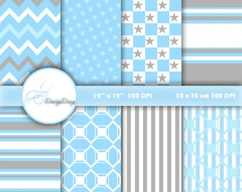SALE Blue grey and white Digital Paper Download, Scrapbook Paper Pack, Digital Scrapbooking, Instant Download Digital Print #200