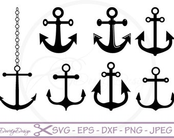 SVG files for Cricut Anchors Nautical Clipart, Clipart, Nautical Clipart, SVG cutting files, Scrapbooking, Silhouette Anchors Clipart