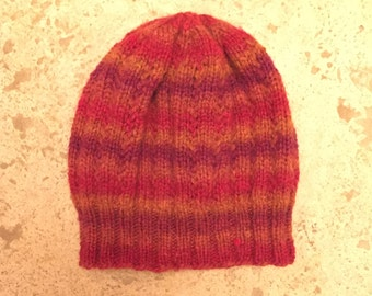 Striped Hand Knit Hat