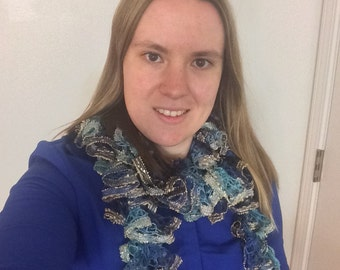 Gold Sequined Blue and Teal Ruffle Scarf