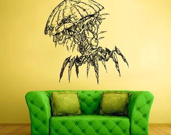 rvz1562 Wall Vinyl Sticker Decals Jellyfish Deep Sea Ocean Fish Scuba Tentacles