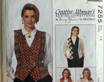1990s McCall's Vintage Sewing Pattern 7255, Size 14; Misses' Lined Vests