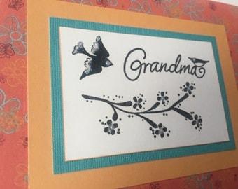 Grandma - Birthday Card Greeting with Glittered Birds + Florals