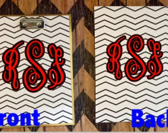 Monogrammed personalized white and black chevron padfolio clipboard with memo pad