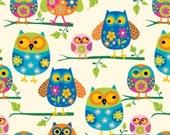 "Fleece Fabric Owls Baby Blanket Style# A 34306 60"" Wide"