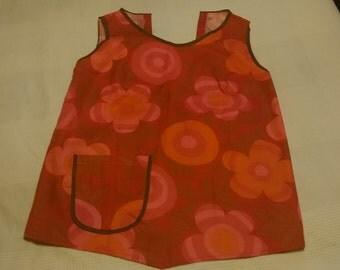 Orange Flowered Apron 60s 70s Very Nice!