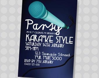 Karaoke Party, Singing, Dancing, Microphone, Karaoke Birthday Invitation || Downloadable Invitation || Printable JPG/PDF