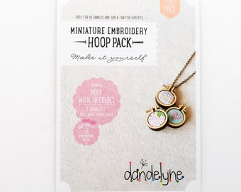 "DIY Mini Embroidery Hoops by Dandelyne- 3pk- 1""/2.5cm Round Hoops + *Necklace Chains & Bonus Brooch Backs*"