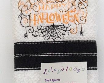 Halloween Tea Towels - embroidered kitchen towels - Samhain towels - seasonal - All Hallows' - pumpkin towels - spiders web towel