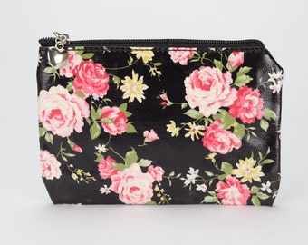 black english rose print - Womens small zip pouch - Travel, credit card, coin wallet - cotton canvas
