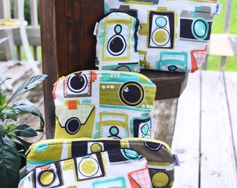 Retro Camera Pouches Multi-Colored/ Makeup Bag/ Mid Century/ Travel Bag/ Toiletry Bag/ Coin Pouch/ Pencil Case/ Cosmetic Bag