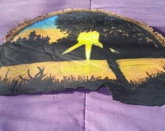Hand painted tree slab