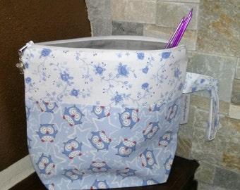 """Knitting or crochet project bag """"The little owl"""", small size,socks size - Borsa portalavoro a maglia o all'uncinetto,piccola"""