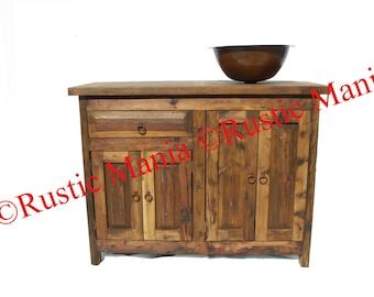 Rustic Old Wood Single Sink Vanity (6123)