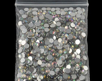 1,000 pcs Round Faceted Flat Back Rhinestone Gems 4mm clear cabochon resin flatback flat back scrapbook embellishment