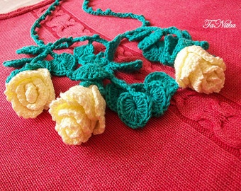 Necklace crocheted with roses. Knitted jewelery, crochet flowers, women's jewelry,  jewelry boho