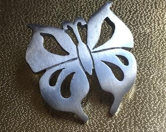 Kelly Waters Silver Pewter Butterfly Brooch, Designer Butterfly, Butterfly Pin