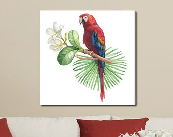 Parrot and Tropical Flower, Tropical Watercolor Gallery-Wrapped Canvas