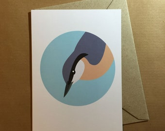 Nuthatch bird greeting card - blank inside