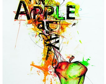 An Apple a Day - Typographical print A4/A3