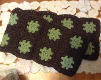 Hand made wool granny square scarf