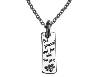 Stainless Quote Mantra Bee Charm Pendant