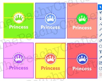 Princess Birthday Party name placeholders (PDF instant download) Princess Party Collection