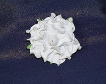 "PROMO Sale -45% Genuine leather flower brooch snow-white rose, 3"". Good for outerwear, hat, scarf. Handmade jewelry"