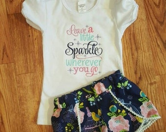 Girls shorts and shirt with embroidery saying outfit