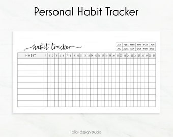Habit Tracker • Habit Printable • Personal Daily Habit Tracker • Personal Planner Inserts • Personal Refills • Monthly Planner • Filofax