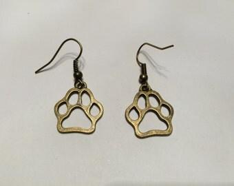 Bronze Cat/dog Earrings (paw print)