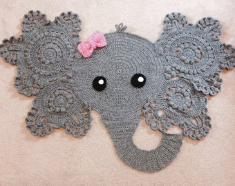 Elephant Rug, crochet rug, baby, elephant decor, boy or girl