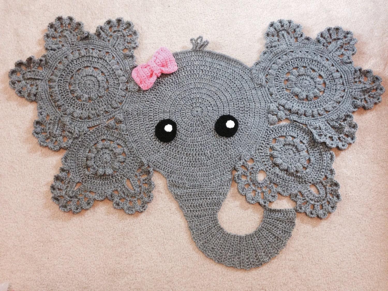 Tappeti Bagno Uncinetto : Elephant rug crochet baby decor boy or girl