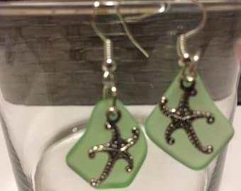 Sea glass and Starfish earrings