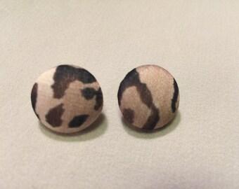 Small Leopard Print Button Earrings