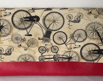 Bicycle fold over clutch- original handbag-