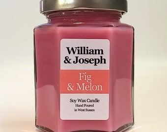 Fig & Melon Scented Soy Candle, Fig Candle, Soy Candle, Scented Candles