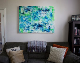 Large Abstract Painting 2 In x 3 Ft x 4 Ft, Bright, Coastal, Beach, Blue, Green