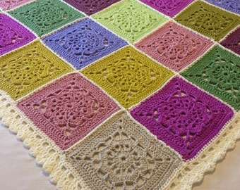 Pretty Pinks, Purples and Greens crocheted afghan