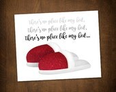 There's No Place Like My Bed Digital 8x10 Printable Poster Funny Saying Wizard Of Oz Parody Ruby Slippers Comfy Naptime Dorothy Red Glitter