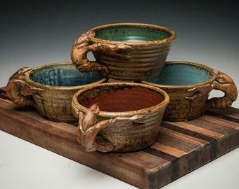 Crawfish handled bowls, stoneware from South Louisiana