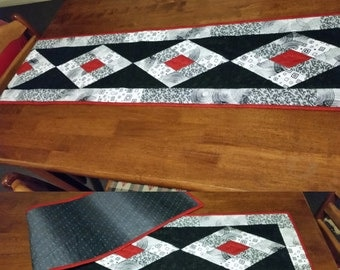 Black, White and Red Quilted Tablerunner - Handmade